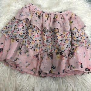 GAPkids pink floral tiered skirt size M